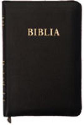 Biblia format mic, de lux, cu fermoar, cuv. Dl Isus in roşu, negru. (Piele)