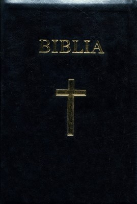 Biblia  format mare, copertă piele ecologica, index, margini aurii si fermoar (piele)
