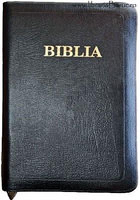 Biblia - format foarte mare, de lux, copertă piele şi fermoar, index, aurită