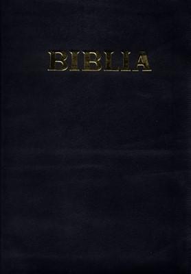Biblie  format mediu, coperta piele, aurita, cu fermoar si index, neagră