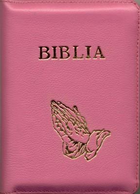 Biblia mică, roz, copertă piele, cuvintele D-lui în roşu.