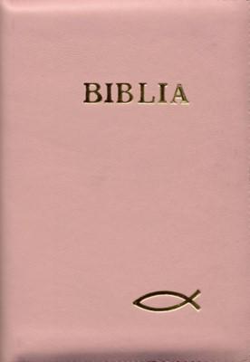 Biblia medie, roz, copertă piele, cu fermoar, cuvintele D-lui în roşu (SC)