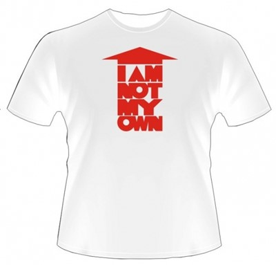 I am not my own (roşu) - tricou alb M