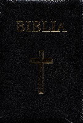 Biblia medie, copertă piele, neagră, margini aurii