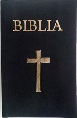 Biblia - mică, copertă carton, negru, cu cruce