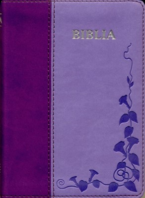 Biblia  format mic, cu index, margini argintii, cuv. Dl Isus cu rosu, mov