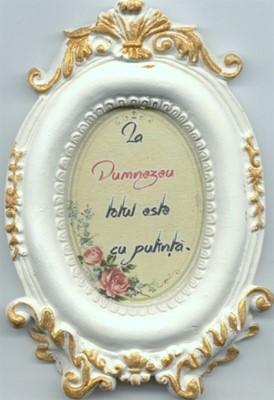 Mini tablou de ceramică oval - La Dumnezeu totul este cu putinţă