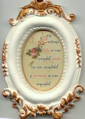 Mini tablou de ceramică oval - Credinta vede ce este invizibil
