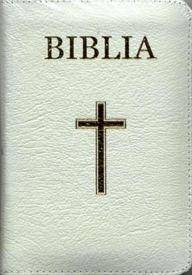 Biblia - medie, copertă piele, aurită, albă, index