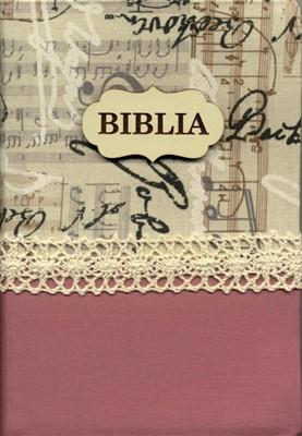 Biblia handmade vintage - model roz & gri, margini aurii