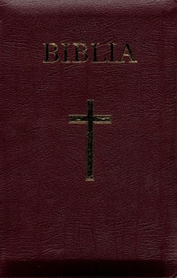 Biblia - mare, coperta piele, aurită, index, fermoar, bordeaux