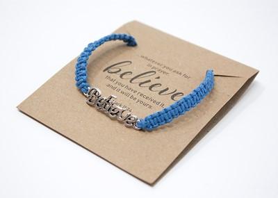 Brăţară - Believe - şnur împletit manual albastru
