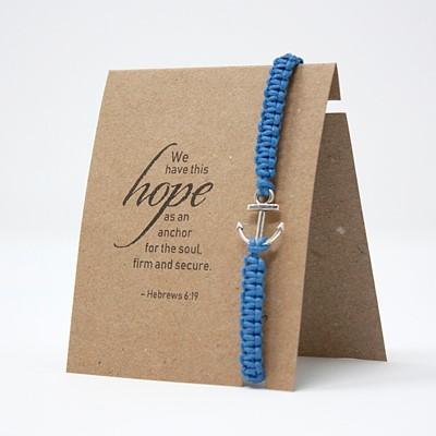 Brăţară - Ancoră - şnur împletit manual albastru