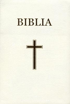Biblia - mare, copertă piele, aurită, index, albă