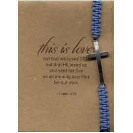 Bratara - Cruce - snur impletit manual, albastru