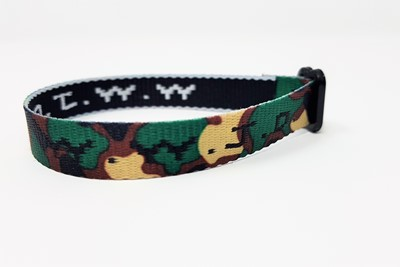 Bratara textila WWJD - camuflaj
