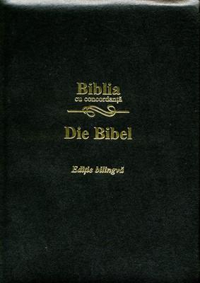 Biblie bilingvă Română - Germană, cu concordanţă, aurită, fermoar, neagră, piele