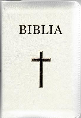 Biblia medie, copertă piele, margini aurii, index, albă, fara fermoar