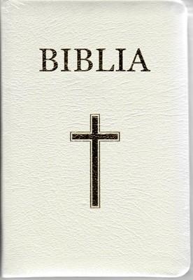 Biblia medie 2, copertă piele, aurită, index, cu fermoar, albă