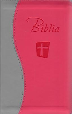 Biblia NTR roz cu gri cu fermoar