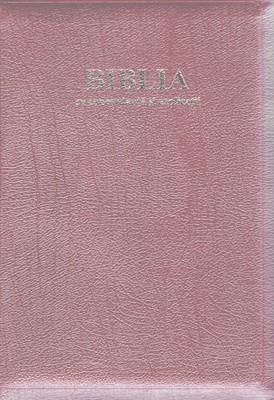 Biblia - format mare, de lux, cu explicaţii si concordanţă, fermoar, margini aurii, visiniu