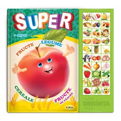 Carte cu sunete - Super Fructe, Legume (bilingvă)