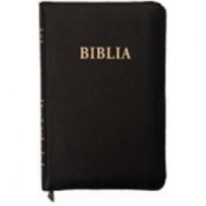 Biblia  format mare, coperta de piele, fermoar, aurită