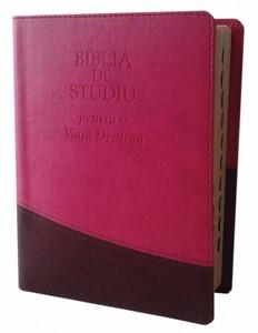Biblia de studiu pentru o viaţă deplină. Ediţie de lux, roz/maro
