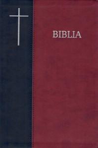Biblia  format mare, coperta flexibila, index, margini argintii, cuv D-lui in rosu, albastru-visiniu