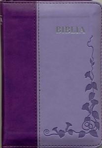 Biblia  format mic, cu index, fermoar, margini argintii cuv. Dl Isus in rosu, mov