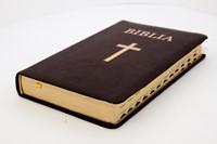 Biblia  medie, copertă piele, margini aurii, index, bordeaux