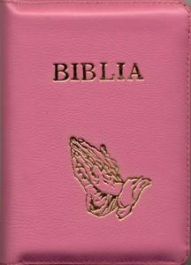 Biblia medie, roz, copertă piele, cuvintele D-lui în roşu.