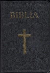 Biblia - mare, coperta piele, aurită, index, fermoar, neagra