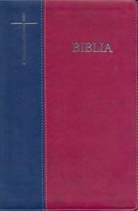 Biblia  format mare, coperta flexibila, index, margini argintii, fermoar, albastru-visiniu