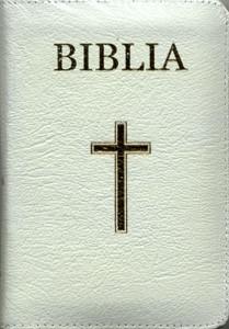 Biblia - medie, copertă piele, aurită, albă, index, fermoar