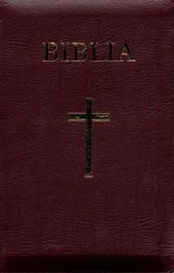 Biblia  medie 2, coperta piele, aurita, index, cu fermoar, bordeaux