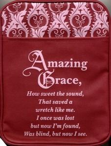 Husă de Biblie, visiniu cu roz, Amazing Grace