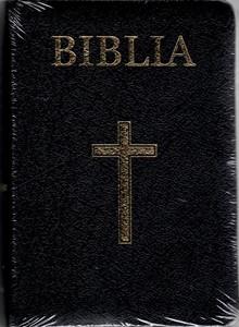 Biblia - mică, copertă piele, aurită, index, neagră