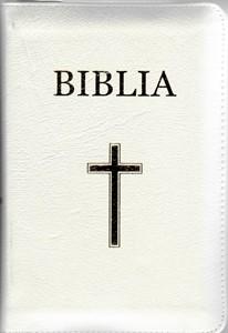 Biblia - mică, albă, copertă piele, aurită, index, cu fermoar