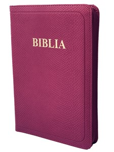 Biblie medie roz cu index și fermoar, de lux