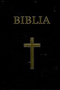 Biblie format mediu, coperți negre de carton, ediție de lux, cu cruce