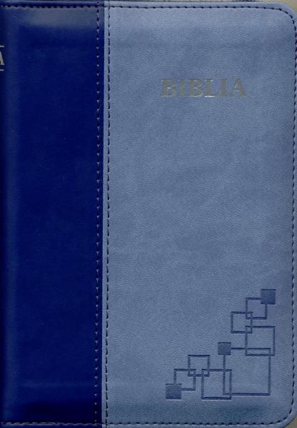 Biblia format mic, cu index, fermoar, margini argintii cuv. Dl Isus in rosu, albastru