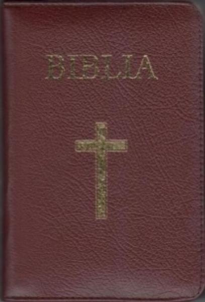 Biblia - mică, bordeaux, copertă piele, aurită, index, cu fermoar