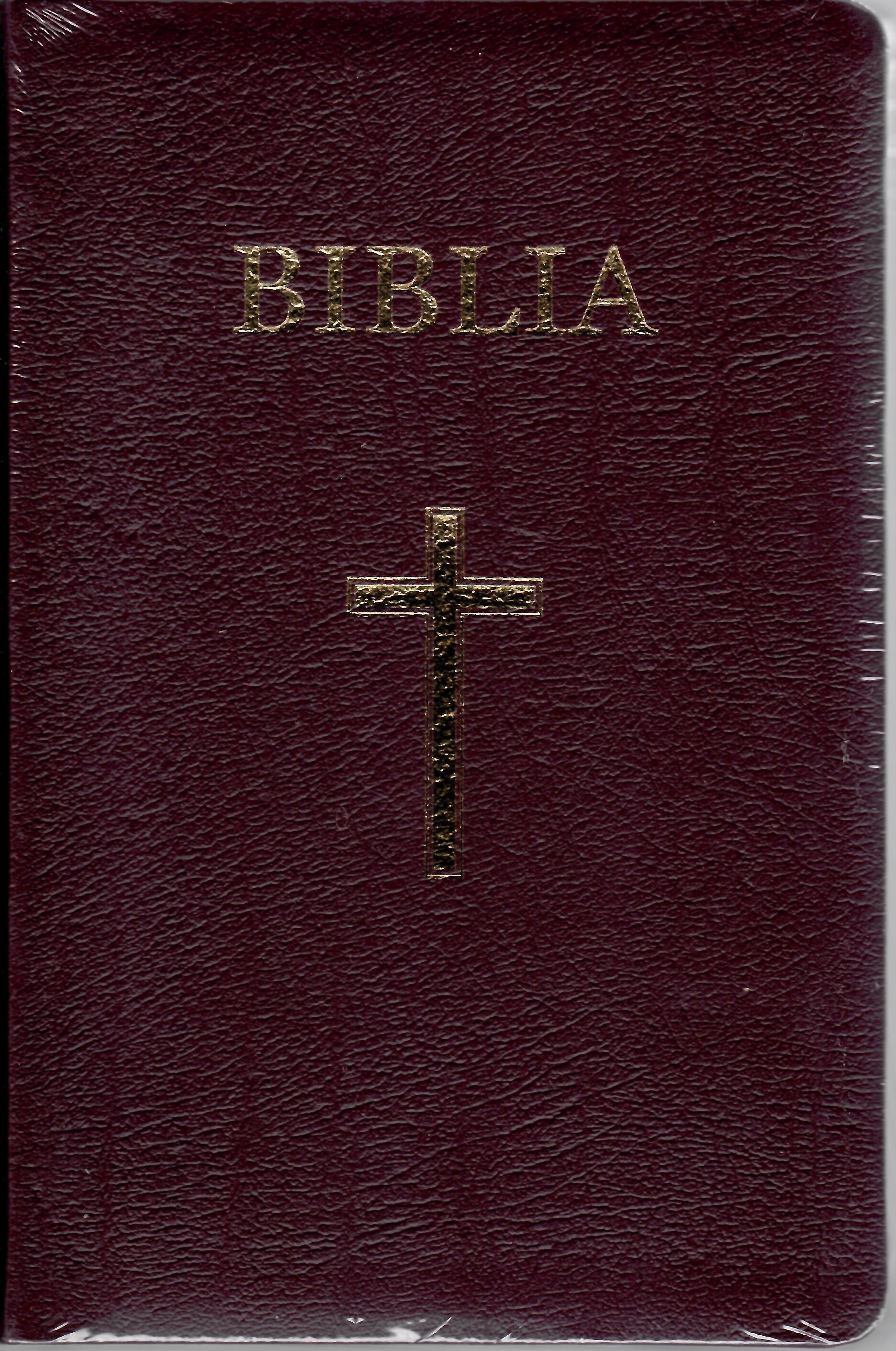 Biblia - mare, coperta piele, aurita, index, bordeaux