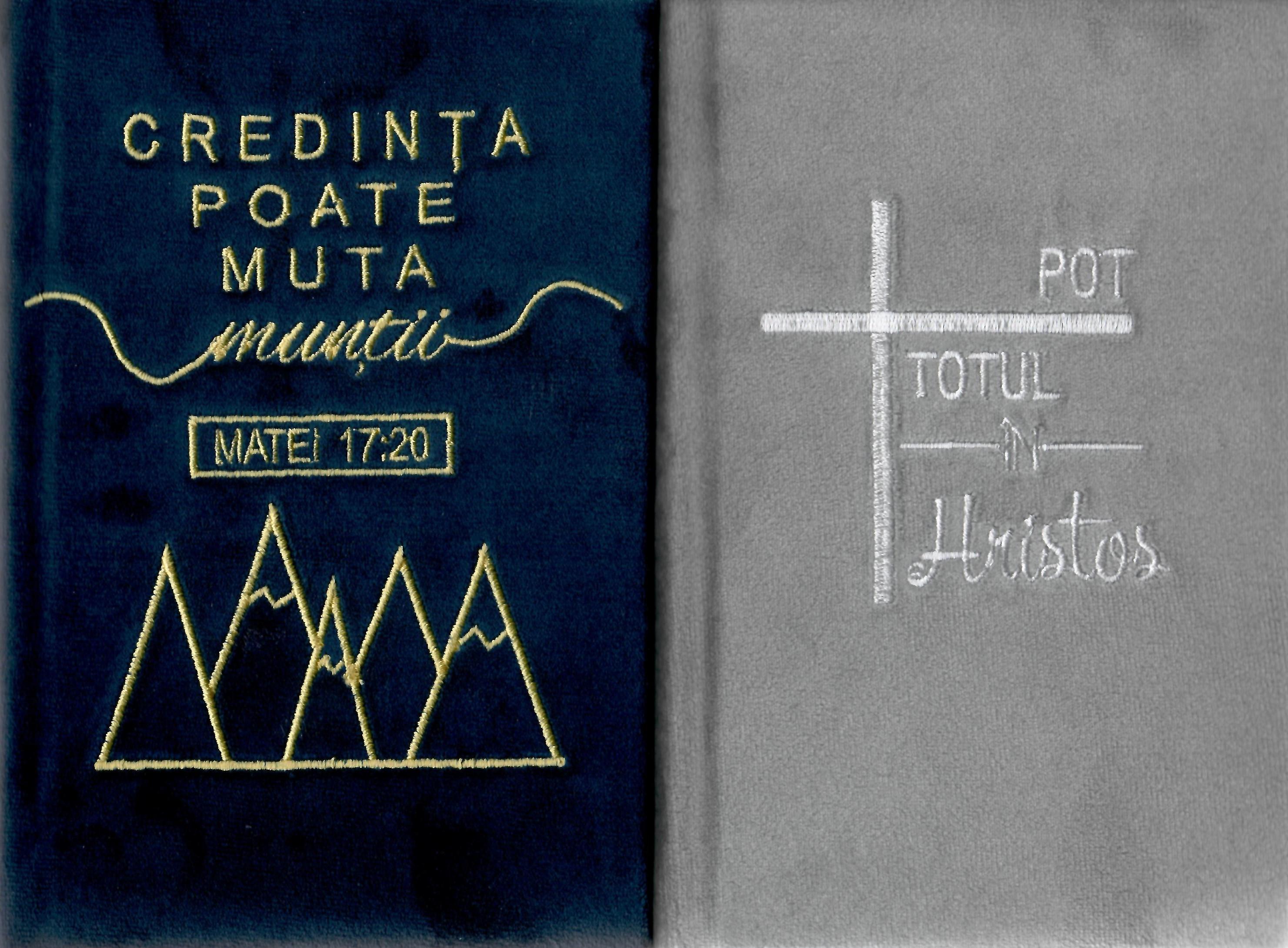 Biblie simplă, medie, cu copertă tare îmbrăcată în catifea (diferite culori) cu text brodat