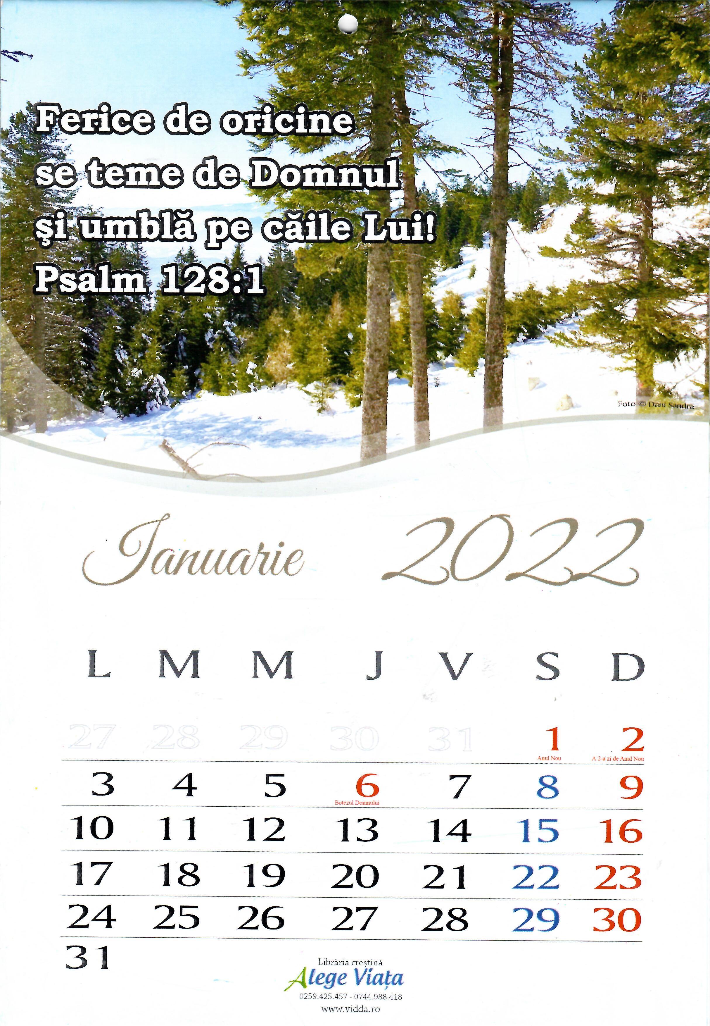 Calendar A4 cu versete / 2022